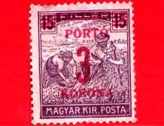UNGHERIA - Nuovo - 1922 - Agricoltura - Raccolti - Mietitore - Sovrastampato 3 Su 15