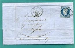 M10 : TAD BESACON LOSANGE PC 378 + (AU DOS ) TAD CONVOYEUR AMBULANT PARIS A LYON + AOUT 1857 + TAD LYON - Postmark Collection (Covers)