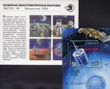 Raumfahrt 1987 Sowjetunion Blocks 196+210 **/o 5€ EXPO Washington 1989 M/s Philatelic Blocs Space Sheets Bf USSR SU
