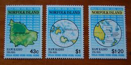 NORFOLK ISLAND - 1991 Ham Radio - Maps. Scott 501-503. MNH
