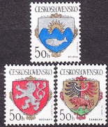 CZECHOSLOVAKIA 1986, Complete Set, MNH. Michel 2850-2852. CITIES - COAT OF ARMS. Good Condition, See The Scans.