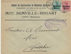 686/24 - LIGNY Enveloppe TP Germania 1917 - Entete Machines Agricoles Somville=Bodart - Censure Charleroi - WW I