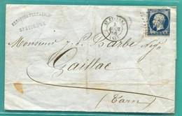 M10 : + TAD ST ETIENNE LOSANGE PC 3053  TAD CONVOYEUR AMBULANT LYON A PARIS  AVRIL 1856 AU DOS - Marcophilie (Lettres)
