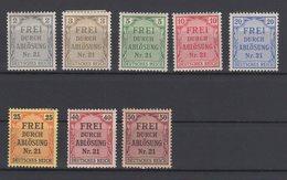 Deutsches Reich / Zähldienstmarken Für Preußen / Michel 1-8