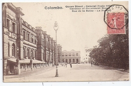 CPA Colombo Ceylan Sri Lanka Ceylon Queen Street General Post Office écrite 1927 Cachet Marseille à Yokoama N°2