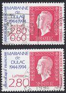 FRANCE Francia Frankreich - 1994,  Due Francobolli Usati: Yvert 2863 E 2864, Giornata Del Francobollo.