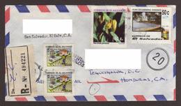 El Salvador, Cover Sent San Salvador-Tegucigalpa With Orchid Stamps, Beach, Environment, 1996 - El Salvador