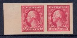 USA 1916 Stamp MNH 2 Cents George Washington Imperforate Pair Left Margin