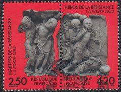 FRANCE Francia Frankreich - 1993,  Due Francobolli Uniti Usati: Yvert 2813A, Martiri Ed Eroi Della Resistenza