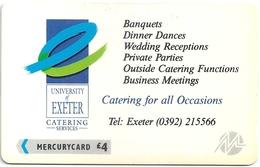 UK (Paytelco) - Exeter University Banquets 1 - 3PEXA - PYU009 (Paytelco On Back) - 10.500ex, Used - United Kingdom