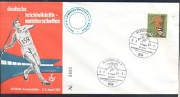 Germany Deutschland 1963 Cover Athletics Athletik Leichtathletik Track &field  German Championship Augburg Rosenaustadio