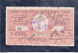 France Colis Postaux 2 Récépissés Paris Pour Paris 5 Kgs 2 Scans, Petite Déchirure Sur #88