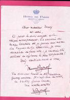 Lettre Autographe De Marcel Pagnol Signée Deux Fois Sur En-tête Hôtel De Paris à Monte-Carlo