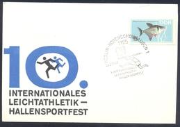 Germany DDR 1967 Card: Athletics Athletik Leichtathletik; Fish Fishe; International Athletics Indor Competition - Berlin