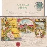 Allemagne 1897. Entier Timbré Sur Commande. Allgemeine Gartenbau Ausstellung Hamburg. Pont Surpendu, Roses, Voilier