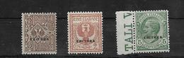Eritrea Serie Completa Francobolli 1924 Linguellata Colonie Italiane (s.17 Sassone 3 Val.vedi Retro) - Eritrea