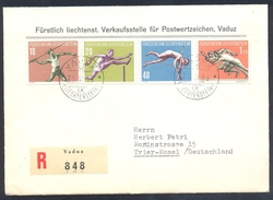 Liechtensten 1956 Registered Cover: Athletics Athletik Leichtathletik; Javelin; Hurdles; Pole Vault; Running