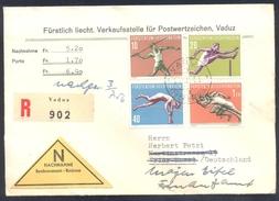 Liechtensten 1956 Registered Nachnahme Cover: Athletics Athletik Leichtathletik; Javelin; Hurdles; Pole Vault; Running