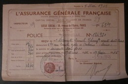 Assurance Générale Française - Police Individuelle - Timbre Fiscal - 1945 - Revenue Stamps