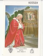 1986 Bolivia Pope John Paul II Visit  Souvenir Sheet MNH