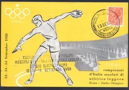 Italy 1958 Maximum Card: Athletics Athletik Leichtathletik; Discobolus Discus Throwing; Olympic Stadium Rome; Athletic C