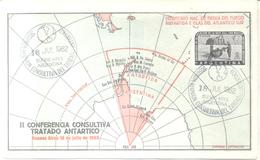 II CONFERENCIA CONSULTIVA TRATADO ANTARTICO RARE ENVELOPPE BUENOS AIRES 18 DE JULIO DE 1962 MAP MAPE MAPA CARTE GEOGRAP - Sellos
