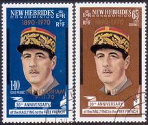 NEW HEBRIDES(English Inscr.) 1971 SG 147-48 Compl.set Used Death Of General Charles De Gaulle