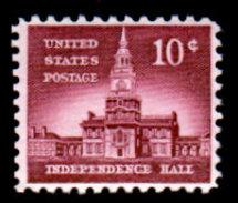 USA, 1954 Scott #1044, Liberty Series,Independence Hall, 10c Single, MNH,VF