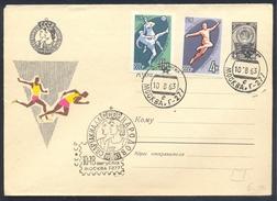 Russia CCCP 1963 Cover: Spartakiade Athletics Athletik Leichtathletik; Long Jump; Running; Football Fussball Soccer Rare - Athlétisme
