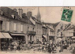 V6735 Cpa 91 Etampes - Place Noitre Dame - Etampes