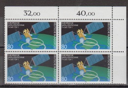 BRD 1290 ** Postfrisch 4er-Block 1986 Satelliten Rundfunk Technik Weltraum - Ecke 2 EOR