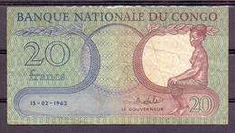 Congo Kongo 20 Francs 1962  VF - [ 5] Congo Belga