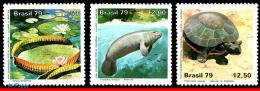Ref. BR-1613-15 BRAZIL 1979 ANIMALS & FAUNA, AMAZON PARK,CONSERVATION,, PLANT, TURTLE, MI# 1709-11,MNH 3V Sc# 1613-1