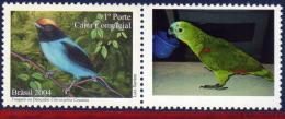 Ref. BR-2941 BRAZIL 2004 ANIMALS & FAUNA, DANCER BIRDS - PARROT, PERSONALIZED MINT MNH 1V