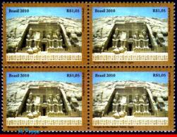 Ref. BR-3137-Q BRAZIL 2010 RELATIONSHIP, EGYPT, NUBIAN MONUMENTS,, ARCHAEOLOGY, SCULPTURE, ART, BLOCK MNH 4V Sc# 3137