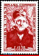 Ref. BR-758 BRAZIL 1953 - AUGUSTE DE SAINT-HILAIRE,, EXPLORER AND BOTANIST, MNH, FAMOUS PEOPLE 1V Sc# 758