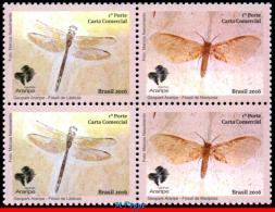 Ref. BR-V2016-26-Q BRAZIL 2016 INSECTS, ARARIPE GEOPARK, INSECTS, FOSSILS, DRAGONFLY & BUTTERFLY,BLOCK MNH 4V