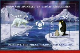Ref. LA-V2009-04 LATVIA 2009 ANIMALS & FAUNA, PRESERVE POLAR REGIONS &, GLACIERS,BEAR, PENGUIN, S/S MNH 2V