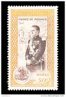 Monaco Scott #248, 50¢ Deep Yellow & Brown (1950) Prince Rainier III, Mint Never Hinged