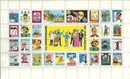 50e Anniversaire De TINTIN - Feuillet Avec 31 Vignettes Des Personnages Des Albums