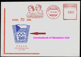 761-CZECHOSLOVAKIA Postal Card The Olympians Oslo-Helsinki 1952-92 Dana And Emil Zatopek 70 Years, Olympic Winners, 1992
