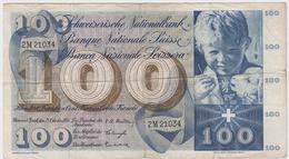 SUISSE 100 Francs 1956 P49a VG+ - Suisse