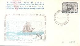 ALFEREZ DR. JOSE MARIA SOBRAL HOMENAJE DE LA ASOCIACION ANTARTICA ARGENTINA AÑO 1961 GUALEGUAYCHU ENTRE RIOS - Sellos