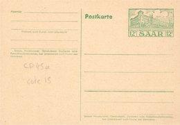 ENTIER POSTAL SARRE Occupation Française CP N°45a