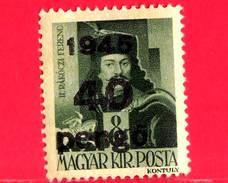 UNGHERIA - Nuovo - 1945 - Liberazione Dell'Ungheria - Ferenc II Rakoczi (1676-1735) - Sovrastampato 40 Su 8