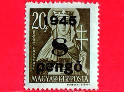 UNGHERIA - Nuovo - 1945 - Liberazione Dell'Ungheria - Santa Elisabetta (1207-1231) - Sovrastampato 8 Su 20