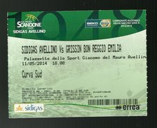 Biglietto Di Ingresso - Pallacanestro Scandone Serie A 2014 - Sidigas Avellino - Grissin Bon Reggio Emilia - Sports