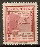 BOLIVIE   -   Aéro  -  1945.  Y&T N° 77 *.   Avion  /  1er Vol Postal LA PAZ - TACNA.