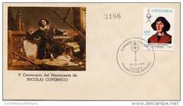 Lote 1286F, Colombia, 1974, SPD-FDC, Nicolas Copernico, Copernicus, Polish Astronomer