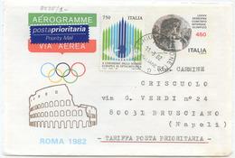 1982 AEROGRAMMA COMUTATO OLIMPICO L. 450 + OCULISTICA L. 750 COME PRIORITARIA INTERNO 11.3.02 TIMBRO ARRIVO (8037) - Interi Postali